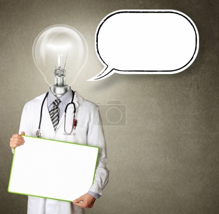 Doctor with empty board with thought bubble