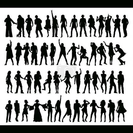 Illustration pour Danse vectorielle et chants silhouettes de peuples faits à la main - image libre de droit