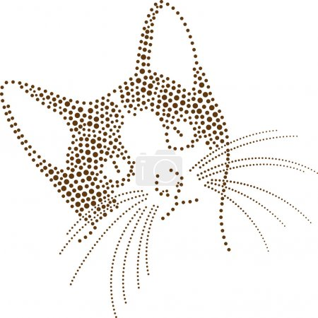 Illustration for Rhinestones/ outline dots of a cat - Royalty Free Image