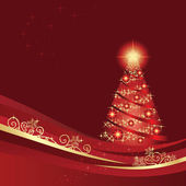 Glowing Christmas tree in a red winter garden This image is a vector illustration