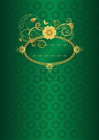 Illustration pour Illustration vectorielle carte florale verte et or - image libre de droit