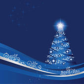 Glowing Christmas tree in a blue and silver winter garden This image is a vector illustration