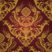 Luxusní červený  zlato květinové damaškové tapeta