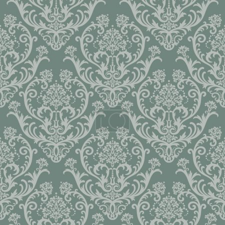 Illustration for Seamless green floral damask wallpaper. This image is a vector illustration. Please visit my portfolio for more similar illustrations. - Royalty Free Image