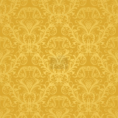 Illustration for Luxury seamless golden floral wallpaper. This image is a vector illustration. - Royalty Free Image