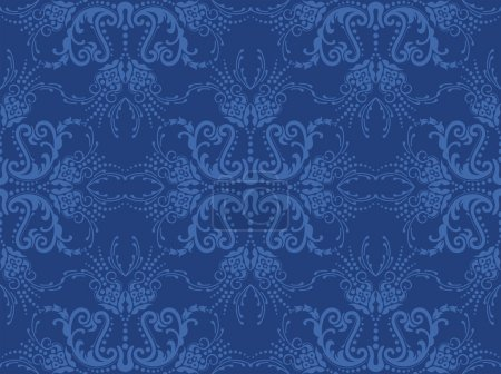 Illustration for Seamless blue floral wallpaper. This image is a vector illustration. - Royalty Free Image