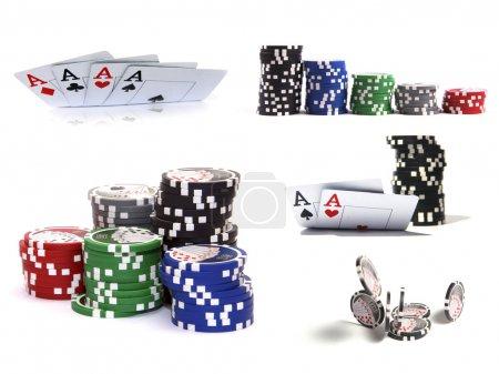 Foto de Conjunto de elementos de casino: chips y tarjetas aisladas sobre fondo blanco - Imagen libre de derechos