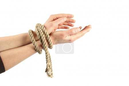 Tied hands isolated on white background