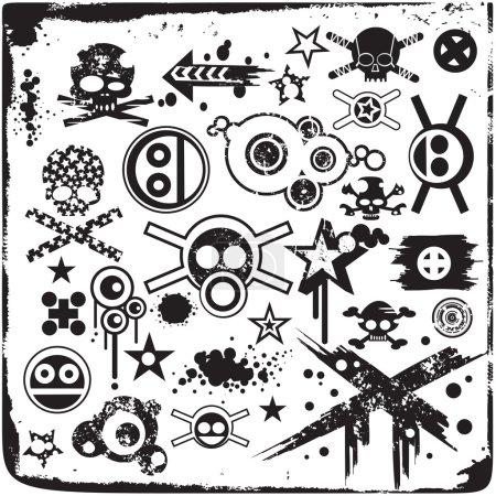 Illustration for Grunge Skulls And Design Elements - Royalty Free Image