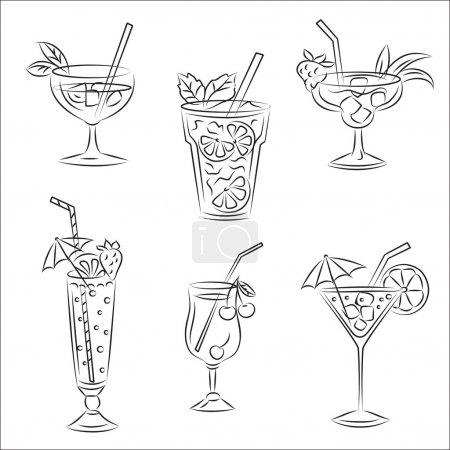 """Illustration pour Ensemble de croquis vectoriels """"Cocktails de fête """" - image libre de droit"""