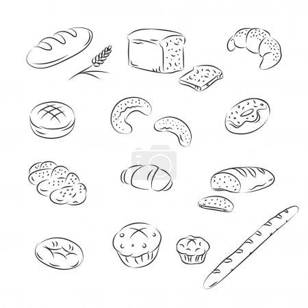 Illustration pour Croquis vectoriel Collection de boulangerie - image libre de droit