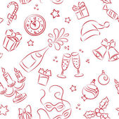 Seamless pattern of sketched Christmas and New Year elements