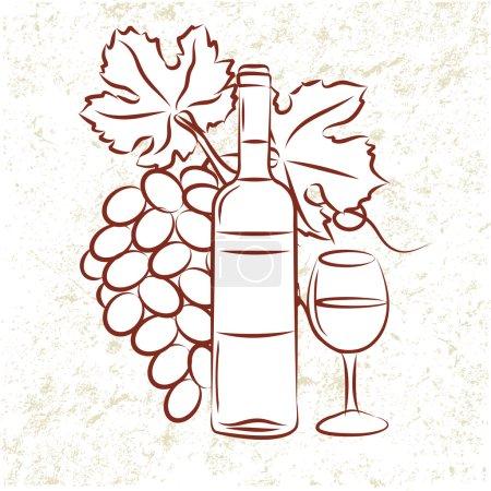 Illustration pour Bouteille de vin et raisins - image libre de droit