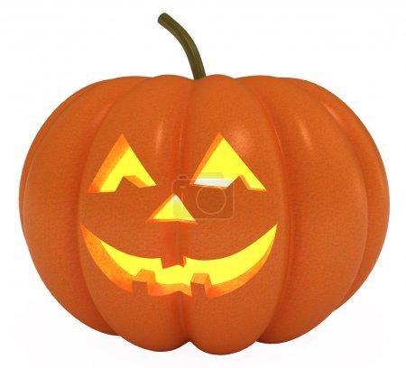 Photo pour Joyeux halloween de citrouille, jack o lanterne, avec un tracé de détourage, illustration 3d - image libre de droit