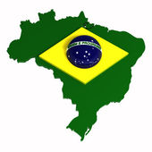 Brasil, map with flag, clipping path included