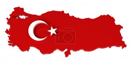 Turkey, map with flag, with clipping path, 3d illustration