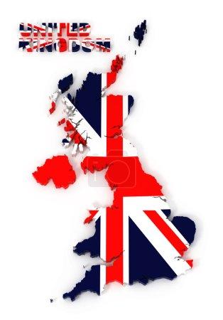 UK, United Kingdom map with flag, isolated on white