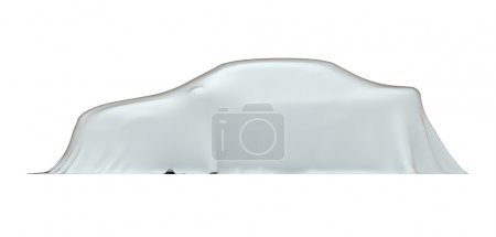 Car under cloth, side view, isolated on white with clipping path