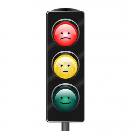 Illustration pour L'image vectorielle d'un feu de circulation avec émotions - image libre de droit