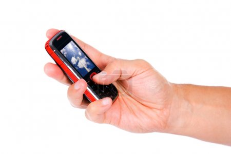 Mobile phone in hand, isolated over white