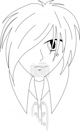 Illustration for Anime boy sketch - Royalty Free Image