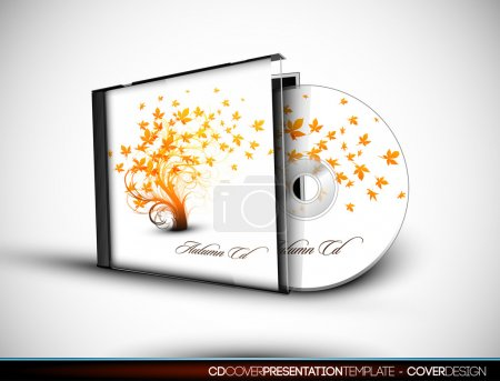 CD Flourish Cover Design with 3D Presentation Template