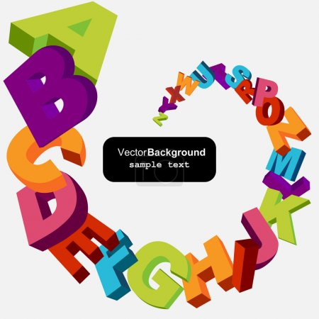 Photo for Colorful 3d alphabet letters vector background - Royalty Free Image