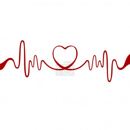 Illustration for Heart and ecg from red ribbon - Royalty Free Image