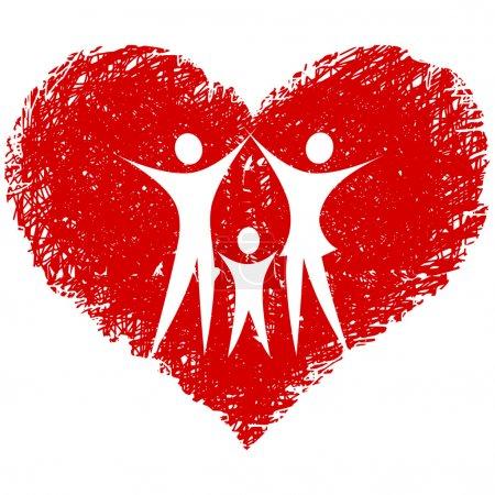 Illustration pour Vecteur familial avec coeur dessiné à la main - image libre de droit