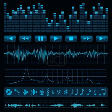 Illustration pour Notes, boutons et ondes sonores. Musique de fond. - image libre de droit