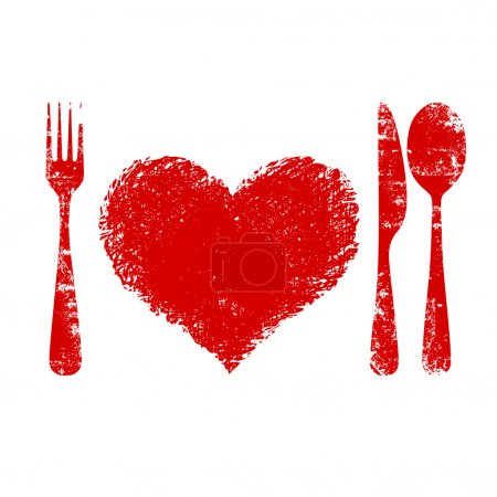 Illustration for A heart health concept - red heart plate, knife, spoon and fork - Royalty Free Image