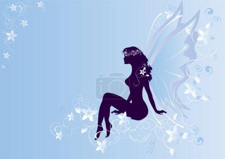 Illustration pour Ange assis sur les fleurs - image libre de droit