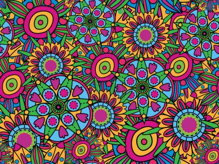 Illustration for Vector seamless texture. Hippy style. - Royalty Free Image