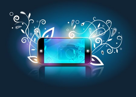 Photo for Vector smartphone&white abstract flowers on blue gradient background - Royalty Free Image