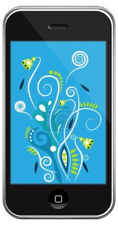 Photo for Vector smartphone&multi-color line on gray gradient background - Royalty Free Image