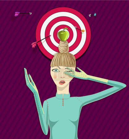 Photo for Girl wit apple on a head. Vector illustration - Royalty Free Image