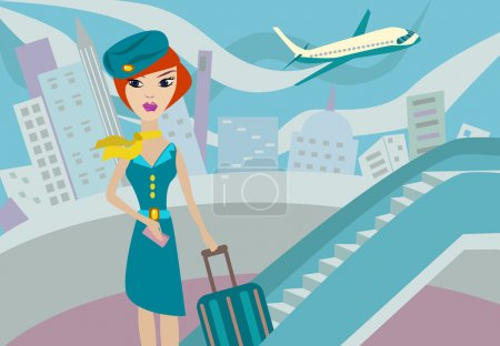 Photo for Flight attendant. Vector illustration - Royalty Free Image