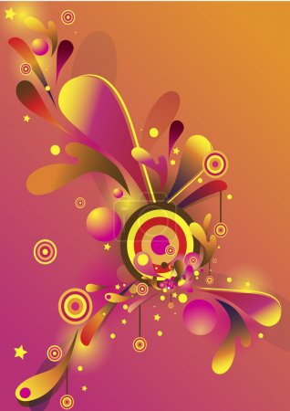 Photo for Abstract vector composition with psychedelic colorful shapes - Royalty Free Image