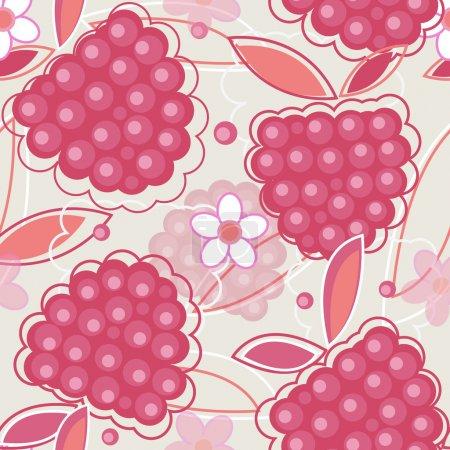 Illustration pour Texture vectorielle abstraite sans couture en couleurs rouges avec des fleurs de framboise et d'anf - image libre de droit