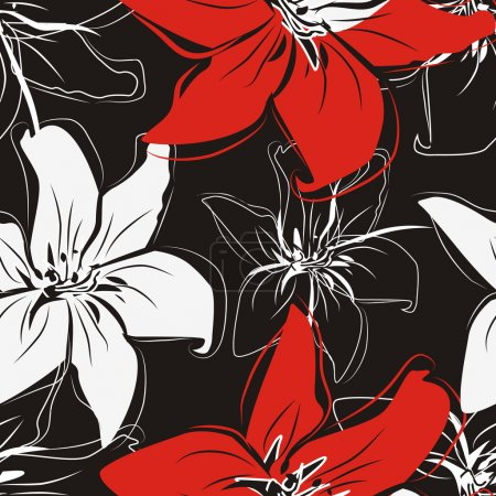 Photo for Flowers vector texture in red, white and black color - Royalty Free Image