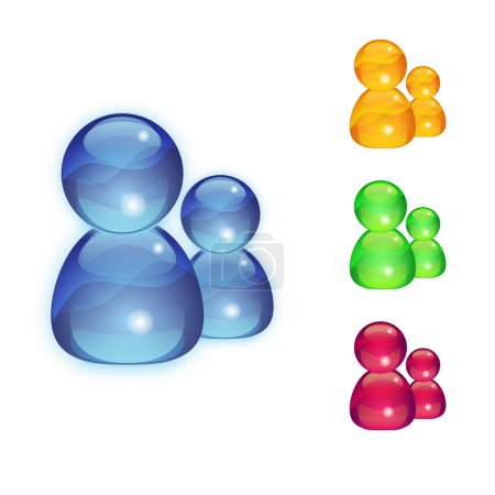 Photo for Multicolor contact vector glass icons set - Royalty Free Image