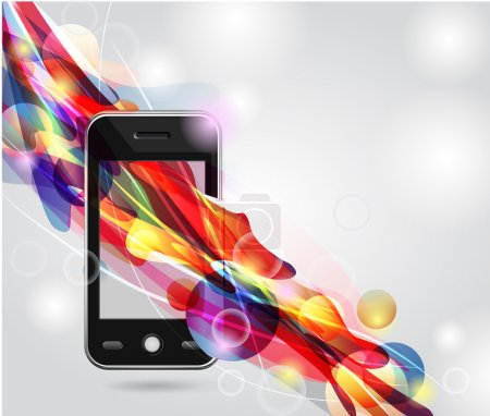 Photo for Realistic mobile vector phone with bright lines - Royalty Free Image