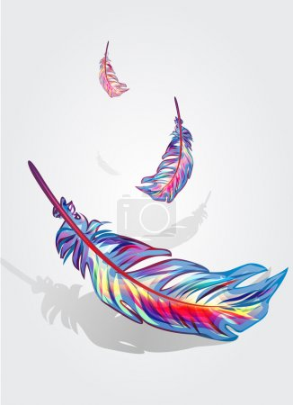 Photo for Beautiful bright vector falling feathers - Royalty Free Image