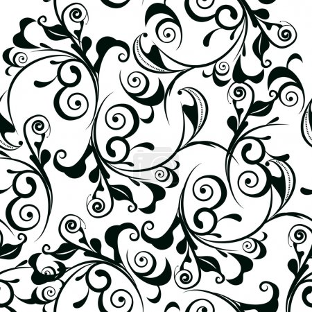 Photo for Classic decorative seamless vector black-and-white texture - Royalty Free Image