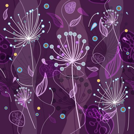 Illustration for Flowers abstract seamless vector texture in gentle colors - Royalty Free Image