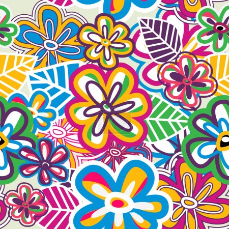 Photo for Abstract bright vector revival texture with psychedelic color flowers - Royalty Free Image