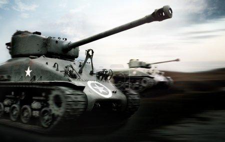 Photo pour Bataille de chars, Normandie - image libre de droit
