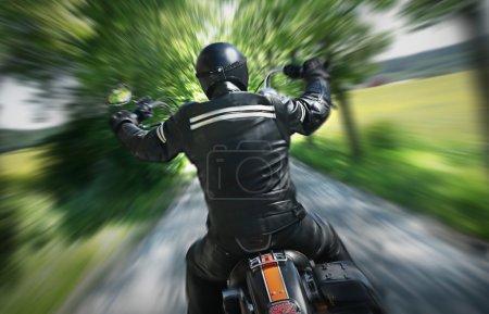 Lone motorbike rider
