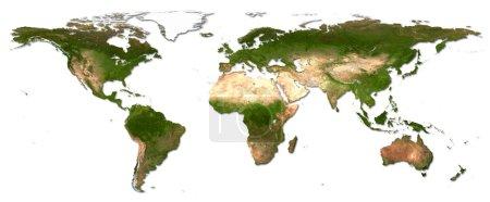 Photo pour Carte du monde des continents détaillée - image libre de droit