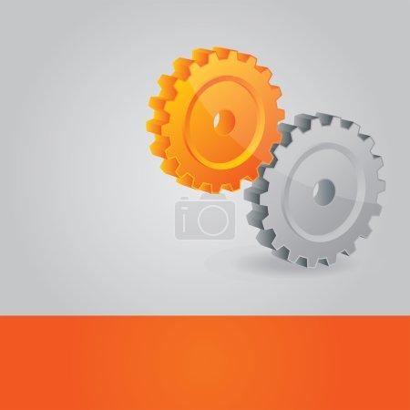 Illustration pour Fond vectoriel abstrait avec roues dentées, ajoutez votre texte sur la ligne orange inférieure - image libre de droit